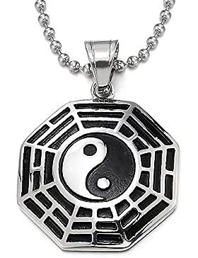 Silber Schwarz Tai Chi Yin-Yang Bagua Acht Diagramme Anhänger Edelstahl Herren Damen Halskette mit 75cm Stahl...
