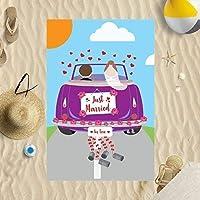 Toalla de playa de microfibra de 147 x 99 cm, diseño de coches recién casados