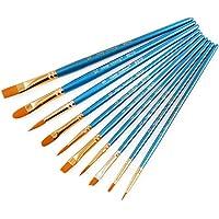 Lyanther 1 Juego de 10 Piezas de Pinceles sintéticos para el Cabello, Azul, para acrílico, óleo y Acuarela