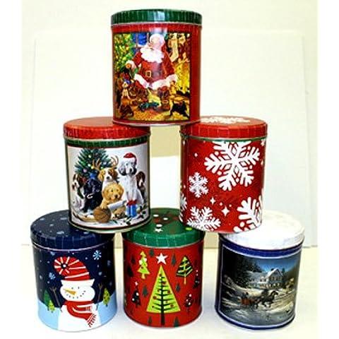Rotondo in latta, natalizio, biscotti, Scatola in metallo nuovo 974077–6(Set di 6)
