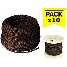 BarcelonaLED LV001-MO Cable Eléctrico Textil Trenzado Estilo Vintage Color Marrón Oscuro (PRECIO PACK OFERTA) (10 METROS)