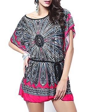 Blusas Mujeres, Dotbuy Vintage Tamaño Más Mini Vestido A-Linear Casual Camisetas Góticas Camisas Largas Estampadas...