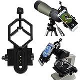 Vizzlema universal adaptador de teléfono y Mount Soporte de trípode para iPhone Sony Samsung Moto - Compatible con Monocular Binocular Spotting Telescopio de Alcance y Microscopio 117g
