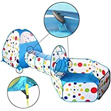 Travel Dream Foldable Kids Toddler Pop Up Play Tent with Tunnel and Ball Pit with Zippered