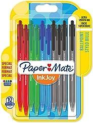 Papermate InkJoy 100 Penna a Sfera a Scatto, Punta Media da 1.0 mm, Confezione da 10, Colori Assortiti