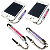 No1accessory new purple + pink crystal shaft stylus pen for apple ipod touch 5th generation&ipad 4 with retina display & apple ipad mini & iPhone 5S/5C &Apple iPad air
