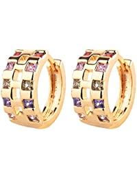 Peora Sparkling Colors Cubic Zircon 18K Gold Plated Hoop Earrings For Women And Girls