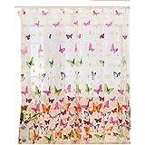 Omkuwl Cortinas de la mariposa de la voile Mariposa Flock Yarn Polyester Door Window Cortina desgaste de la barra 100*270cm