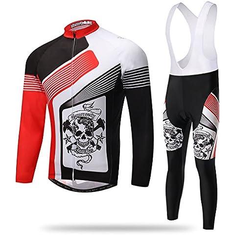 Maglia ciclismo manica lunga 3D imbottito Bib Pants Set XINTOWN uomo, inverno all'aperto caldo pile abbigliamento sportivo , l
