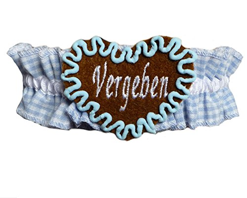 Strumpfband Tracht Hellblau kariert - INDIVIDUELL BESTICKT - Maßkrugband Oktoberfest Bayern (Strumpfband Kariertes)