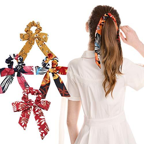 WELROG 4 Stücke Frauen Haar Haargummis Haar Krawatten Kopfverpackung Gummibänder Haar Zubehör (Mischen-2(Stil 2)) Headwrap Tuch