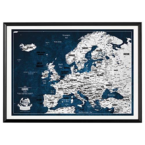 Pinnwand Europa Reisekarte + Bonus 100 Stecknadeln, Europa Reisekarte mit Rahmen, Personalisierte Karten mit Originellen Farben, hergestellt in der EU, 53x73 cm, Schwartzer Frame - Reise-karte Von Europa