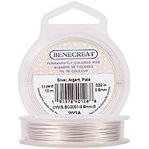 BENECREAT 10m Alambre de Cobre Cable Metálico Accesorios de manualidad para Diseño de Bisutería - Plateado