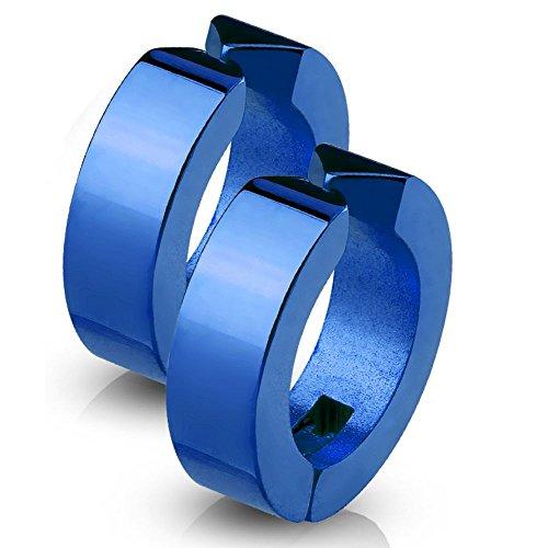 Bungsa Blau - Creolen klassisch Edelstahl - 1 Paar - (Ohrringe Ohrschmuck Ohrklemmen Studs Damen Frauen Herren Mode Earrings) (14k Für Gold Ohrringe Frauen-stud)