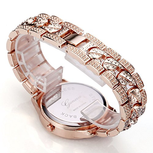 JSDDE Uhren,Luxus Elegangt Damen Armbanduhr mit Strass Glitzer Dial Damenuhr Metall-Band Ladies Dress Analog Quarzuhr (Rosegold) - 4