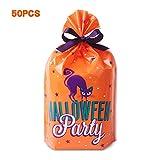 50 pcs Halloween Candy Bag Tuten Süßigkeitentüten Geschenkbeutel Kekstüten BonBon Tasche Geschenk Party Geburtstag Fashing Karneval Orange