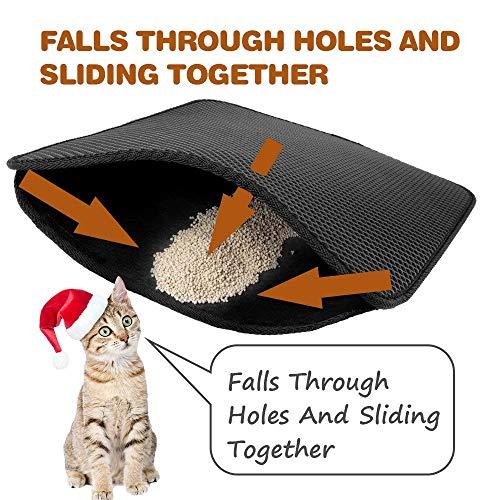 Wuudi Unterlage für katzenklo katzentoilette vorleger Katzenklo Matte katzenstreu Matte für Katzen Doppelte Struktur Matte Wasserdicht schwarz