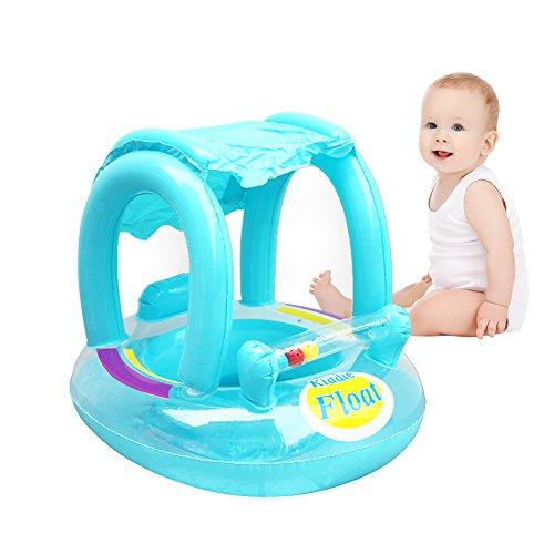 Leiyini Baby-Pool schweben Aufblasbarer Babyschwimmbecken Float Seat Schwimmring mit Sonnenüberdachung (Blau)
