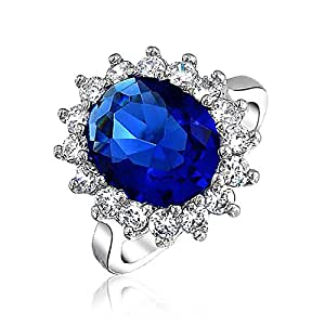 Bling Jewelry Argento 925 simulato Sapphire anello di fidanzamento Royal