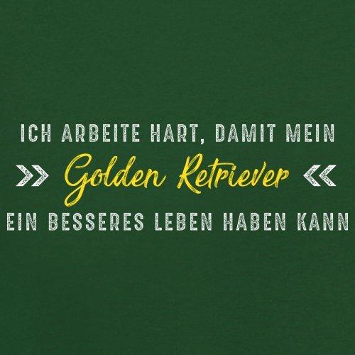 Ich arbeite hart, damit mein Golden Retriever ein besseres Leben haben kann - Herren T-Shirt - 12 Farben Flaschengrün