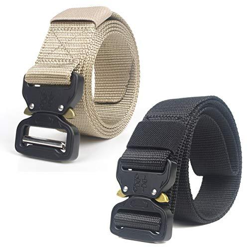 HOTSO 2 Pack Nylon Cinturón Táctico, Pretina Militar al Aire Libre 130cm Longitud Lona Transpirable Ceñidor para Hombre y Mujer Cintura con Hebillas de Metal (Negro+Caqui)