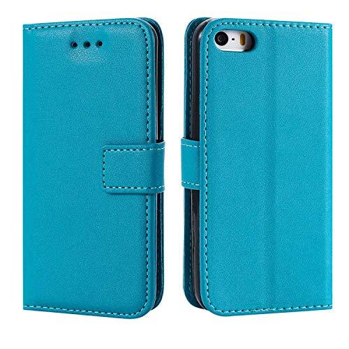 DENDICO iPhone 5C Hülle, Premium Leder Flip Handyhülle Schutzhülle, Wallet Tasche Brieftasche im Bookstyle mit Standfunktion - Blau
