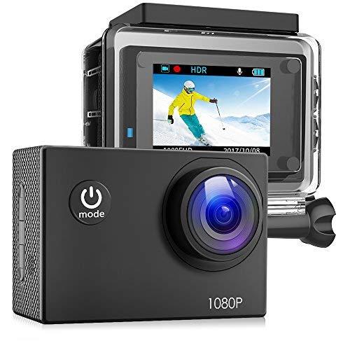 Victure Action Cam Full HD 1080P 12MP Impermeabile Sport Action Camera 1050mAh Batterie 170° Grandangolare 20+ Kit Zubehör