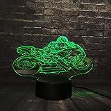 Regalo di Natale Luce notturna 3D Cavaliere a LED Lampada da scrivania Scrivania Motocicletta Competizione Raccogli RGB 7 Cambio colore Ragazzo Ragazzo Giocattolo USB USB Base Interruttore creativo c