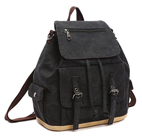 &ZHOU Borsa di tela, Uomini e donne casual zaino zainetto borsa borsa zaino tela tracolla diagonale pacchetto computer , blue Black