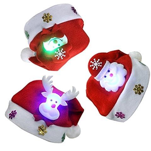 Chapeaux Noël – LATH.PIN 3Pcs LED Chapeaux Bonnet de Père Noël Santa Chapeaux pour Enfant Bébé Unisexe 30*25cm (Bonhomme de Neige + Père Noël + Faon) (Bonhomme de Neige /Père Noël / Faon)