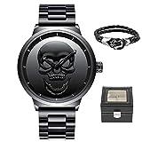 Reloj de Pulsera para Hombre, diseño de Calavera 3D Creativa, Color Negro, 30 m, Impermeable, Gran Lujo, Casual, de Acero Inoxidable, para Hombres