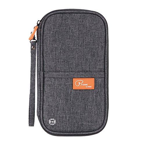 Tuscall Reisebrieftasche mit RFID Schutz Reiseorganizer Mappe Reisepass Reise-Dokumente Tasche Kreditkarten-Halter Ausweistasche Unisex-Clutch mit Reißverschluss-Fächern (Grau)