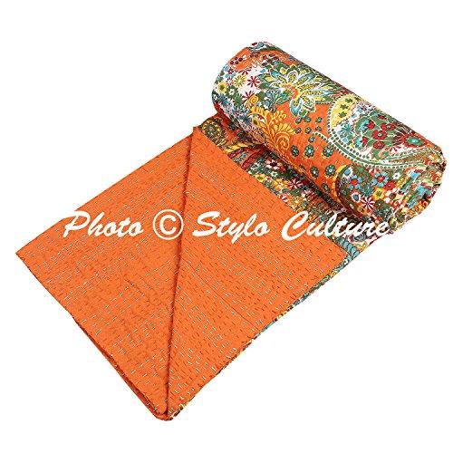 Stylo Culture Traditionelle Tagesdecke Schlafzimmer ethnische Kantha indische Bett Throw Single Orange Baumwolle Paisley Hand genäht Decke Bettwäsche Quilt Bettdecke Bettdecke -