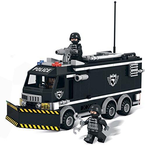 Modbrix 1222 - SWAT Polizei Mannschaftswagen inkl. custom SWAT Minifiguren und Waffen thumbnail