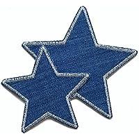 Set 2 Jeansflicken Stern Patch zum aufbügeln Kinder/Erwachsene Hosenflicken