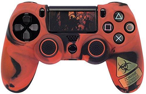 Hama 7-in-1 PS4/SLIM/PRO Zubehör Set Undead (für Dualshock 4 Controller, Zombie Design, Skin Silikonhülle, Stick-Aufsätze, Touchpad Schutzfolie, Lightbar Sticker, thematisch passend für Fallout 4) custom rot