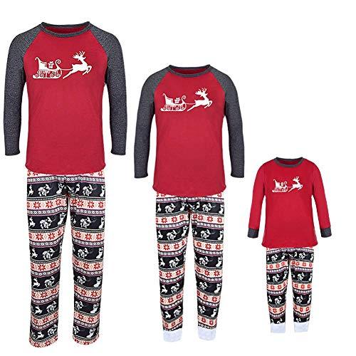 Familie Passenden Weihnachten Pyjamas 2PCS Elch Print Baumwolle Pyjamas Eltern-Kind O-Neck Lange Schlaf Plaid Schlafanzug Homewear mom XL