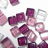 50pièces 6mm attaché Cube Style valeur Cristal Perles de verre–Améthyste Mix–A3065