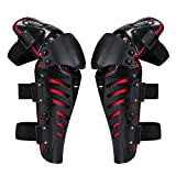 Motocross Knie-/Schienbeinschoner für Erwachsene, 2 Stück, Körperschutz, Motorrad-Knieschützer, professionelle, hohe Qualität, Motocross-Knieschoner, Schwarz und Rot