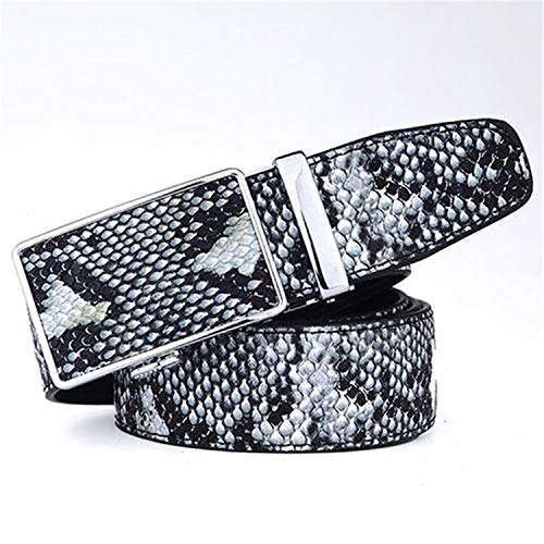Auspiciousi Cinturón de cuero genuino de piel de serpiente para hombres Cinturones con hebilla automática