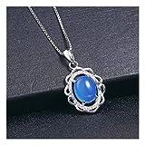 MTWTM Colgante De Plata Sterling Calcedonia Ágata Étnica Retro Regalo del Día De La Madre Temperamento Joyería Mujer Sola,Colgante Cristal Azul