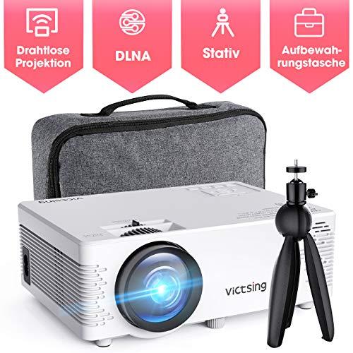 Beamer, VicTsing Mini Beamer Full HD 4500 Lumen WiFi&Bluetooth LED Projektor, 1080P HD 170 \'\' Display 50000 Stunden, Wireless Video Beamer Kompatibel mit Smartphone, TV Stick, HDMI, VGA, SD, AV, USB