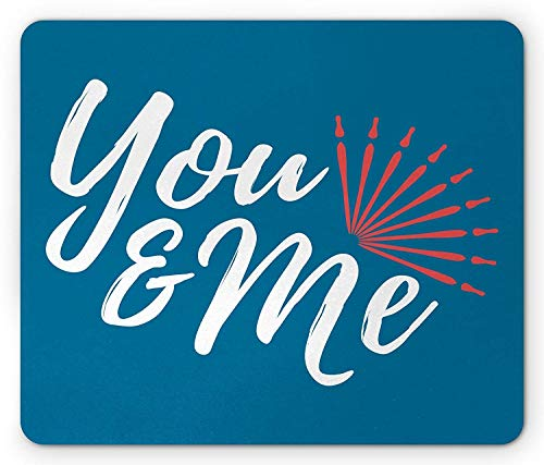 ads, You and Me Mouse Pad, Lovers Forever Valentines Wedding Celebration Romance Dating Print, Standard Size Rectangle Non-Slip Rubber Mousepad, Blue Dark Coral White ()