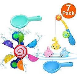 joyoldelf Jouet Bain - 7 Pièces Jeux de Pêche Enfant Jouet de Bain Bébé Jouets Éducatifs pour Enfants Filles Garcons