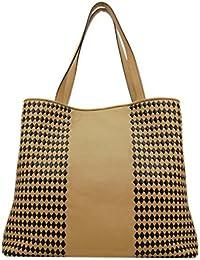 PLINIO VISONA' - Spiga, Shoppers y bolsos de hombro Mujer, Multicolore (Cognac Nero), 13x31x36 cm (W x H L)