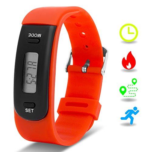 Kinder-Fitnesstracker mit Schrittzähler, Fitness-Aktivitätstracker mit Uhr als Armband, Smart Armband, Bänder für laufende Kinder (Schrittzähler, Kalorien, Strecke, Schlafmonitor), ohne Bluetooth, ohne App., rot