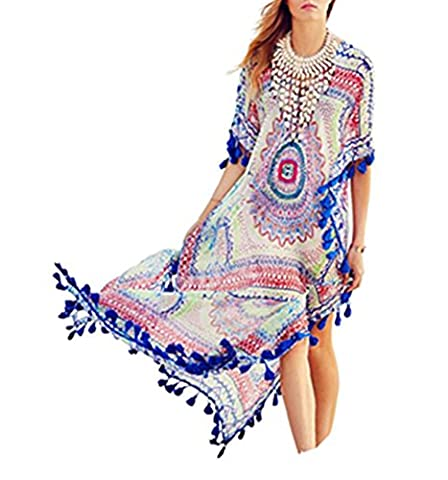 Women's Long Chiffon Kaftan Bikini Beach Cover Up Printed Floral Tassel Swimwear Dress