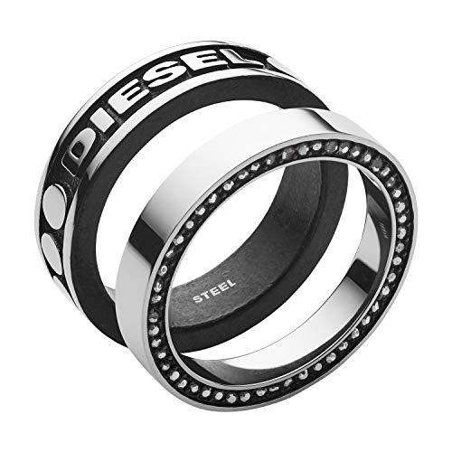 Diesel Herren-Stapelring Edelstahl Glas \'- Ringgröße 61 DX1170040-10