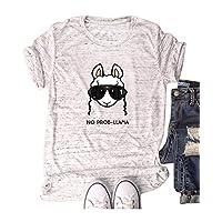 Women Goat Head Tops Farm Funny Cute Junior Teen T Shirt Marble White M