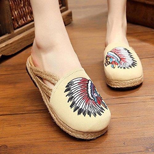 DM&Y 2017 Caratteristiche vento nazionale scarpe ricamate donne calza pistoni pigri ricamati donna indiana beige